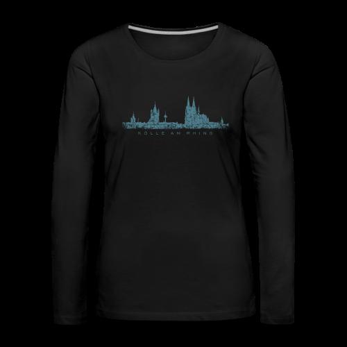 Kölle am Rhing Skyline (Vintage Blau) Langarmshirt - Frauen Premium Langarmshirt