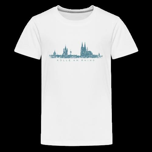 Kölle am Rhing Skyline (Vintage Blau) Teenager T-Shirt - Teenager Premium T-Shirt