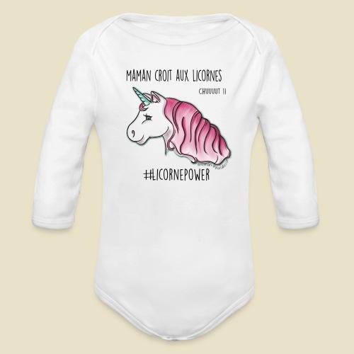 Maman croit aux licornes body ML bébé - Body bébé bio manches longues