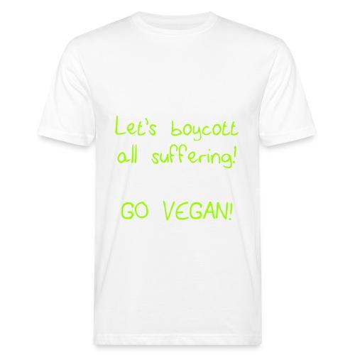 mens T-shirt boycott all suffering white/lime - Men's Organic T-Shirt
