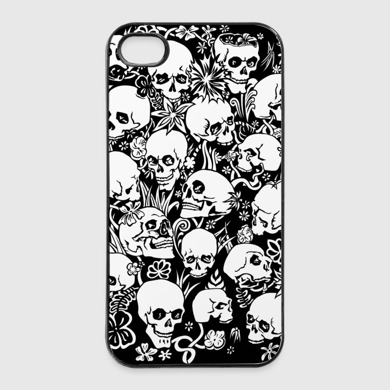 coque iphone t tes de mort fleurs spreadshirt. Black Bedroom Furniture Sets. Home Design Ideas