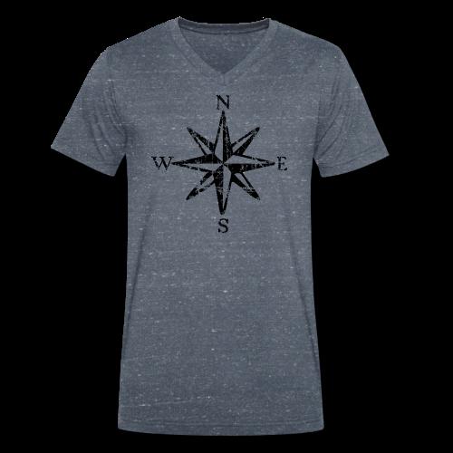 Windrose mit Himmelsrichtungen Vintage (einfarbig) T-Shirt - Männer Bio-T-Shirt mit V-Ausschnitt von Stanley & Stella