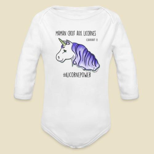 Maman croit aux licornes body ML bébé (version bleue) - Body bébé bio manches longues