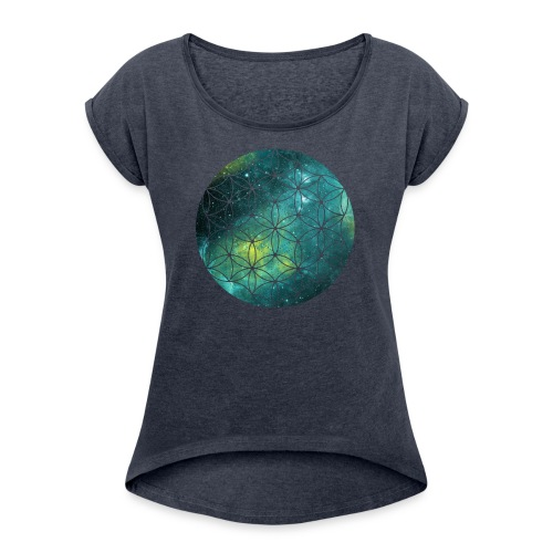 Flower of Life Cool - Vrouwen T-shirt met opgerolde mouwen
