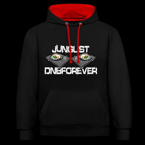 Junglist-DnBForever-Turnabes-ContrastHoodie - Contrast Colour Hoodie