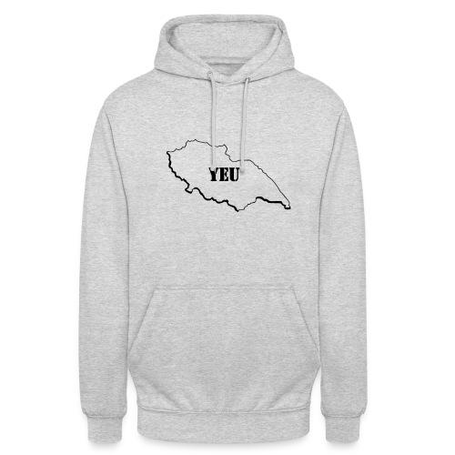 Sweat-shirt à capuche unisexe - 85,YE,YEU,coeur,contours ile,ile d'yeu,vendee,vendeen