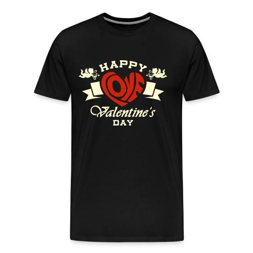 Valentinstag Geschenk - Valentine Happy Love 2 auf dunkel - RAHMENLOS Liebe Ehe Pärchen in Love - Männer Premium T-Shirt