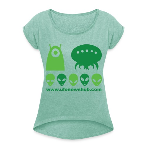 UFO News Hub Alien Theory - Womens Tee - Women's T-Shirt with rolled up sleeves
