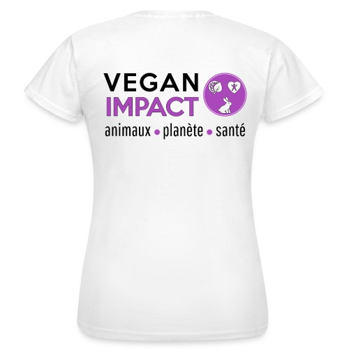 Tee shirt blanc Vegan Impact Femme - T-shirt Femme