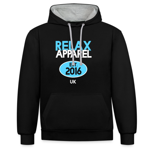 Relax Apparel White + Blue - Contrast Colour Hoodie