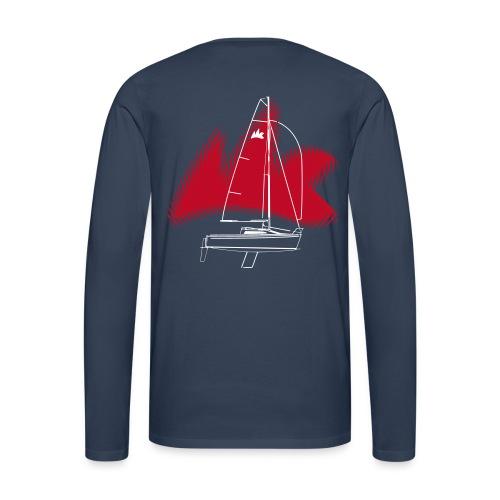 Langarm-Shirt, versch. Farben, verwischtes Klassenzeichen und Boot (Cruiser-Racer), das Rot des Klassenzeichens ist ein relativ dunkles Rot. - Männer Premium Langarmshirt