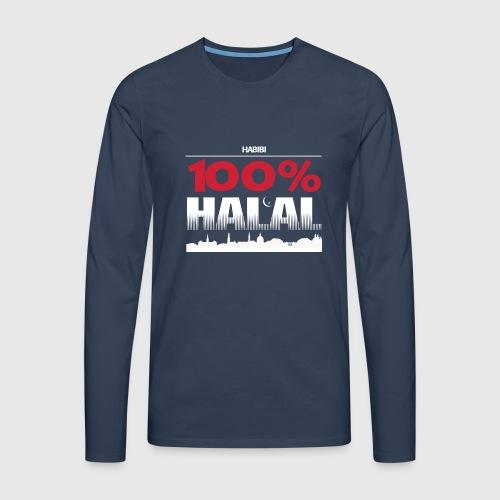 100%HALAL - Herre premium T-shirt med lange ærmer
