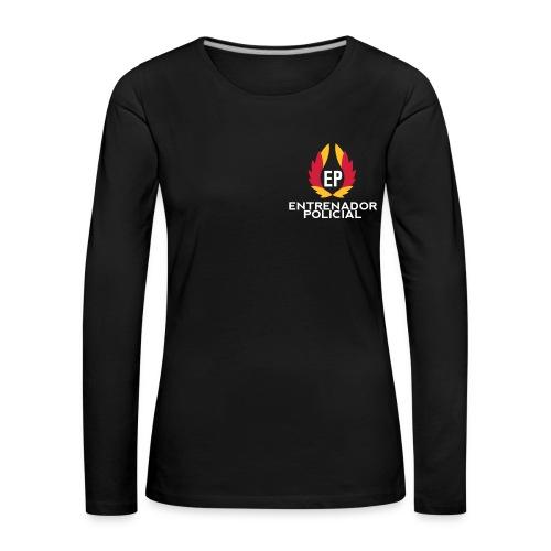 Camiseta Algodón Mujer Negra - Camiseta de manga larga premium mujer