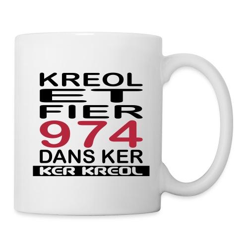 Tasse Kreol et Fier 974 dans Ker - 974 Ker Kreol - Mug blanc