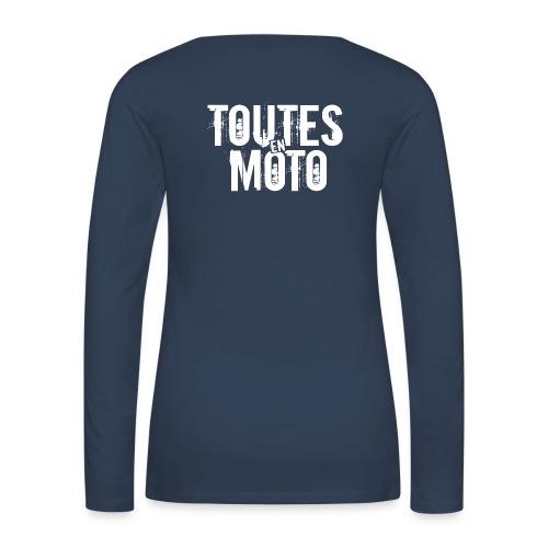 Tee-Shirt Manches Longues Bleu Logo Blanc - T-shirt manches longues Premium Femme