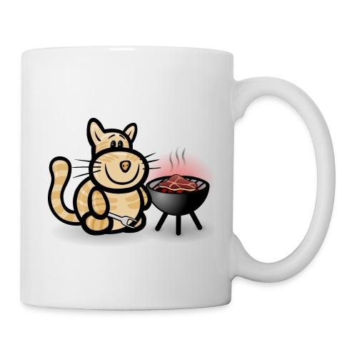Getigerte Katze beim Grillen - Tasse
