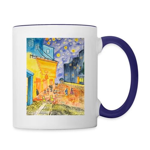 Nachtcafé, Tasse zweifarbig aus Keramik - Tasse zweifarbig