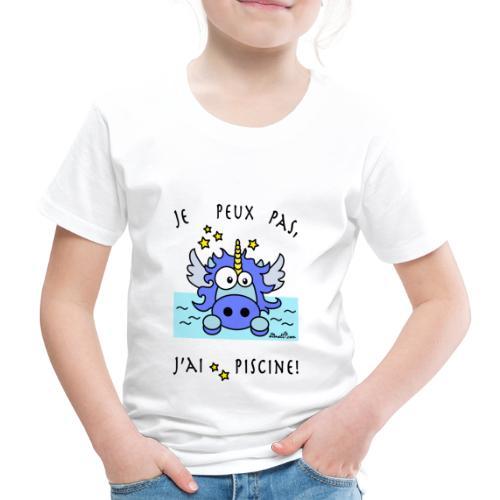 Tee shirt Premium Enfant, Licorne Bleu - Je peux pas, j'ai piscine! - T-shirt Premium Enfant