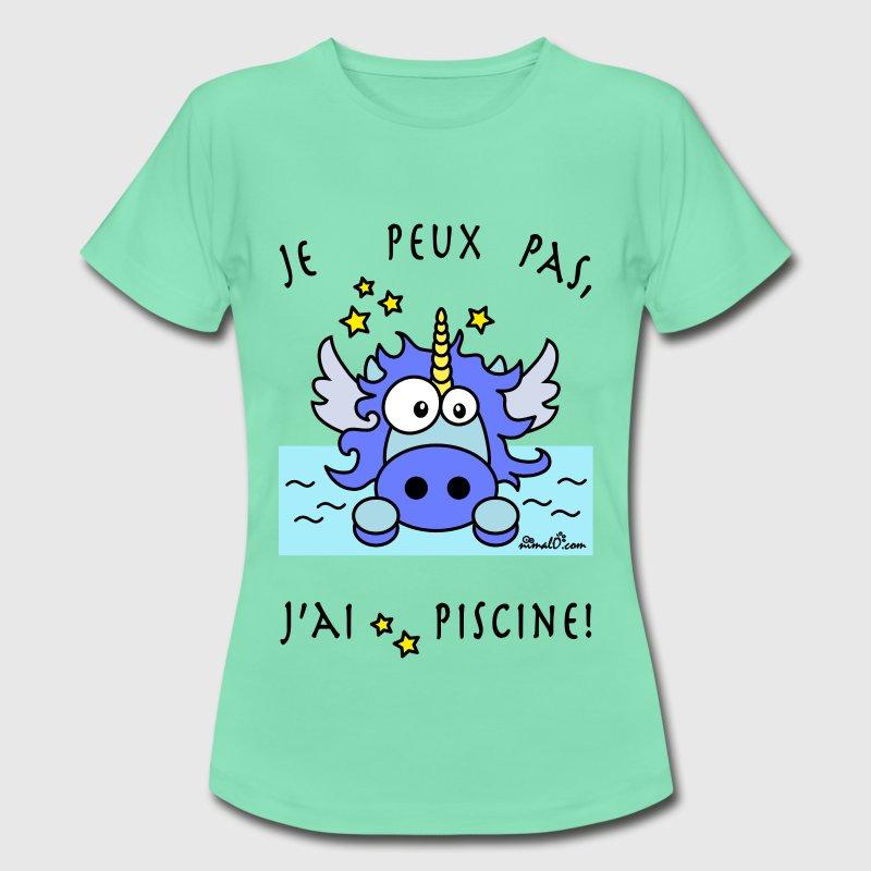 tee shirt licorne bleu je peux pas j 39 ai piscine spreadshirt. Black Bedroom Furniture Sets. Home Design Ideas