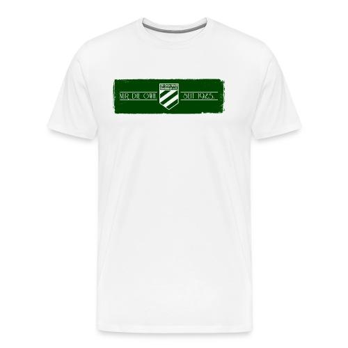 Shirt weiß mit Logo auf sattem grün für unsere Herren - ♂  - Männer Premium T-Shirt
