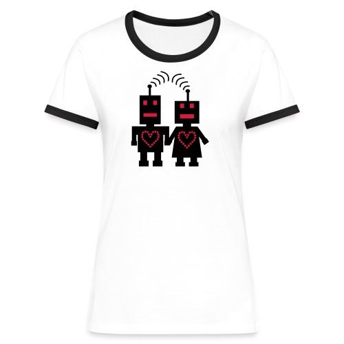 Roboter Liebe Nerd T-Shirt - Frauen Kontrast-T-Shirt