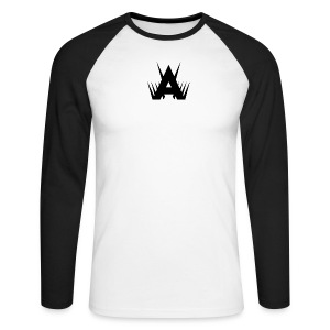 Icon Full Length Tee - Black on White/Black - Men's Long Sleeve Baseball T-Shirt