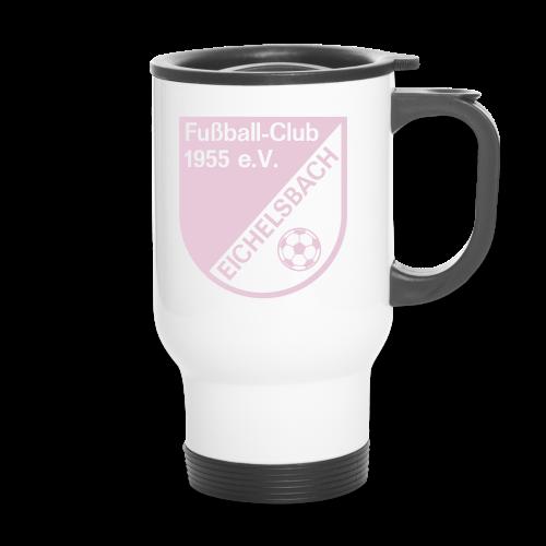 Katha Becher mit FC Eichelsbach Wappen in Pink - Thermobecher