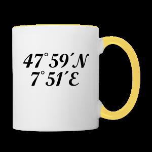 Freiburg Koordinaten (Schwarz) Tasse - Tasse zweifarbig