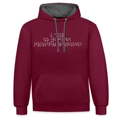 Sweat-shirt contraste - Modèle : l'amour est une maladie sexuellement transmissible Ecriture blanche pour vêtements ou accessoires foncés