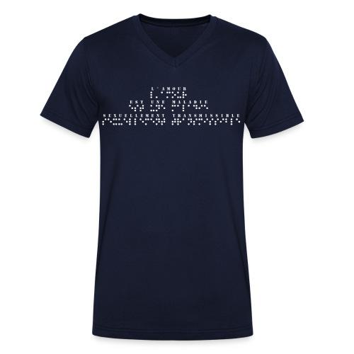 T-shirt bio col V Stanley & Stella Homme - Modèle : l'amour est une maladie sexuellement transmissible Ecriture blanche pour vêtements ou accessoires foncés