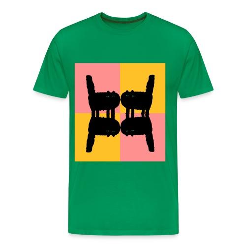 Katzen gespiegelt - Green Mirror Cats - Männer Premium T-Shirt