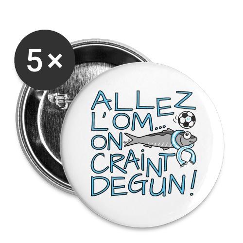 Pack 5 Badges 56mm, Allez l'OM, On Craint Degun, Marseille - Badge grand 56 mm