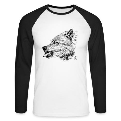 men's baseballshirt snarling wolf - Men's Long Sleeve Baseball T-Shirt