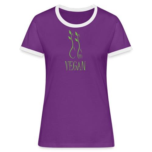 Damen T-Shirt Vegan - Frauen Kontrast-T-Shirt