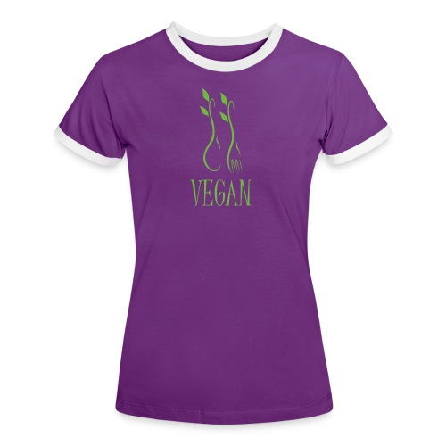 Damen T-Shirt Vegan - Frauen Kontrast-T-Shirt