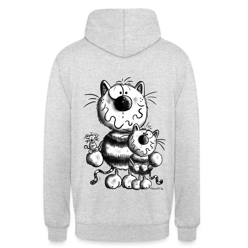 Felpa con cappuccio con gatti di famiglia spreadshirt for Felpa con marsupio porta gatto