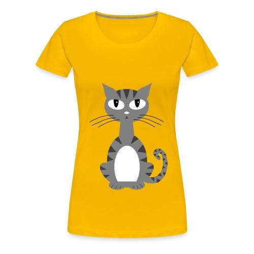 Grey Puss On Yellow Shirt - Women's Premium T-Shirt
