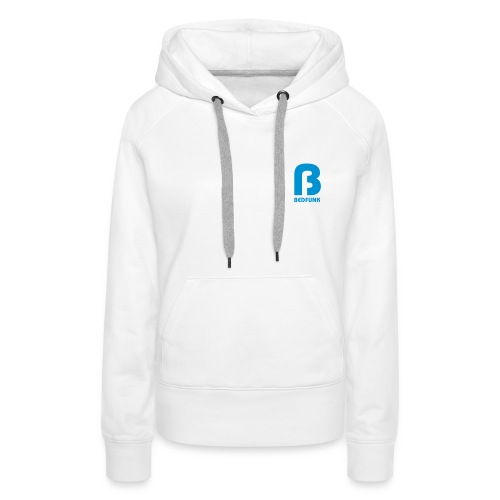 Women's Premium Hoodie White with Blue Bedfunk Logo  - Women's Premium Hoodie