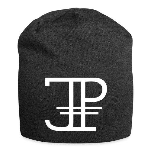 Jonas Platin Beanie (Dunkelgrau/Weiß) - Jersey-Beanie