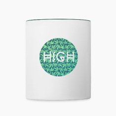 HIGH / cannabis Hipster Typo - Pattern Design  Mugs & Drinkware