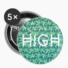 HIGH / cannabis Hipster Typo - Pattern Design  Buttons