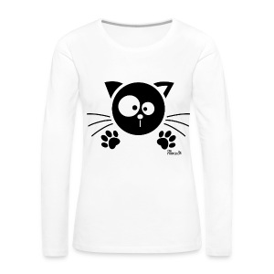 Tee shirt manches longues Premium Femme, Chat noir - T-shirt manches longues Premium Femme