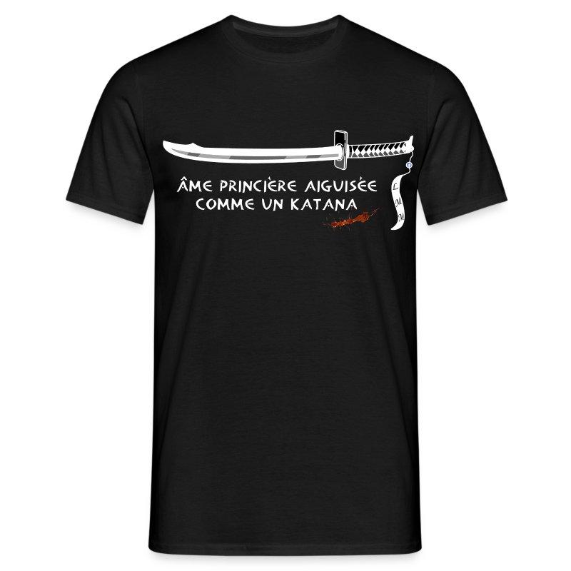 T-shirt homme noir katana & blood - T-shirt Homme