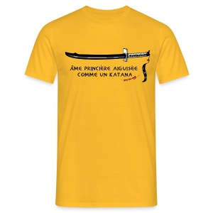 T-shirt homme jaune katana & blood - T-shirt Homme