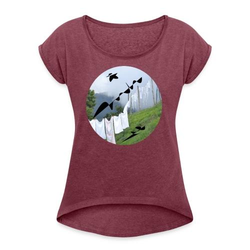 Vrouwen t-shirt 'Tuscany' - Vrouwen T-shirt met opgerolde mouwen