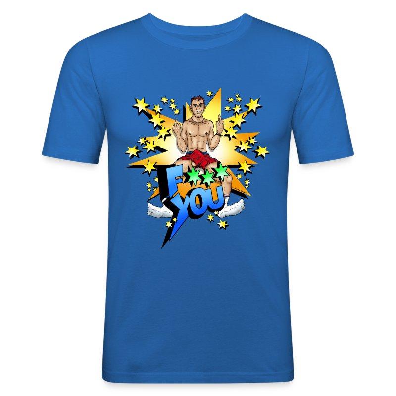 F*** You / Blue / Slim - Männer Slim Fit T-Shirt