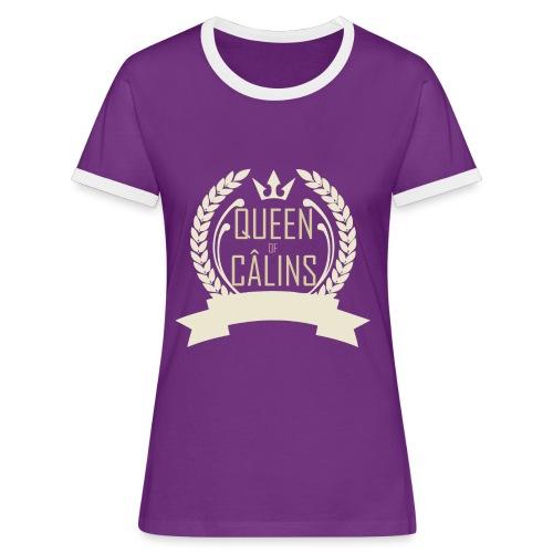 Queen of Câlins Brown - T-shirt contrasté Femme