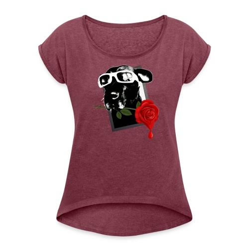 Doggie Rose Shirt woman - Frauen T-Shirt mit gerollten Ärmeln