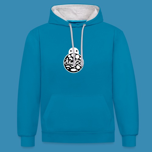 ShellZz Blue & White - Hoodie - Contrast Colour Hoodie