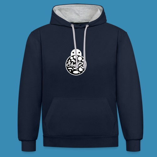 ShellZz Navy Blue & White - Hoodie - Contrast Colour Hoodie